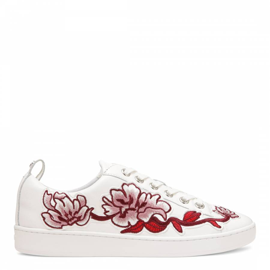 b9983a3ef58 Donna Karan DKNY White Embroidered Floral Detail Lace Up Trainers Shoes
