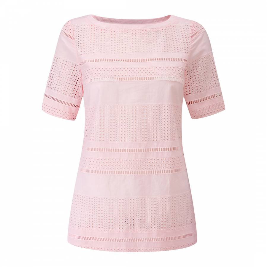 c91eff4bd23 Pure Collection Pale Pink Cotton Broderie Anglais Top