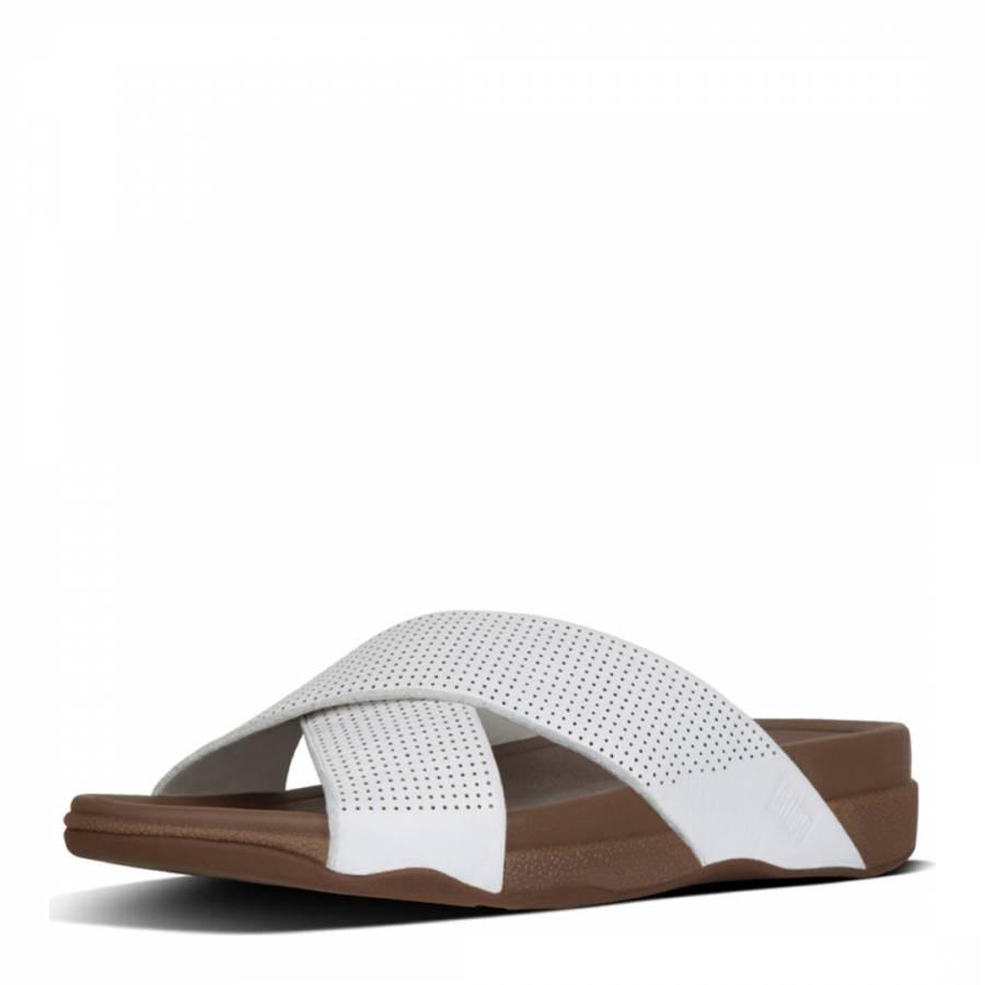 83883c6f20fc White Leather Surfer Sliders - BrandAlley