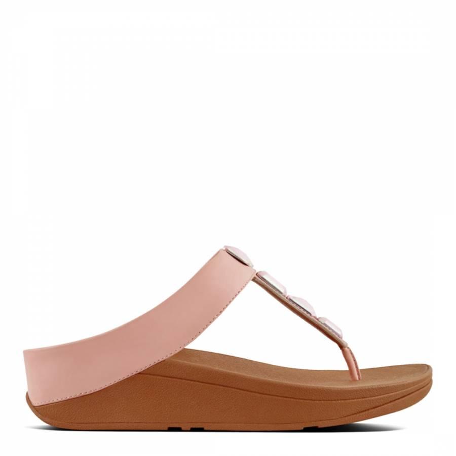 3964cfc0ede9c Dusky Pink Leather Banda II Crystal Toe Post Sandals - BrandAlley