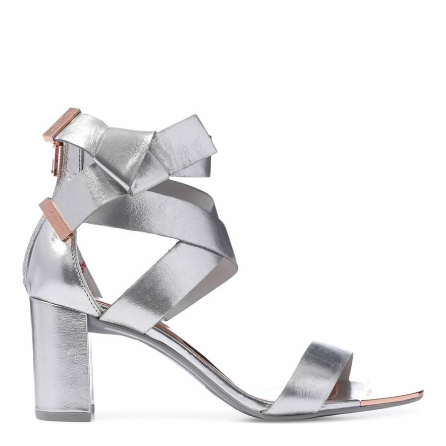 5a3df0d8b902 Silver Leather Peyepa Block Heel Bow Sandals - BrandAlley