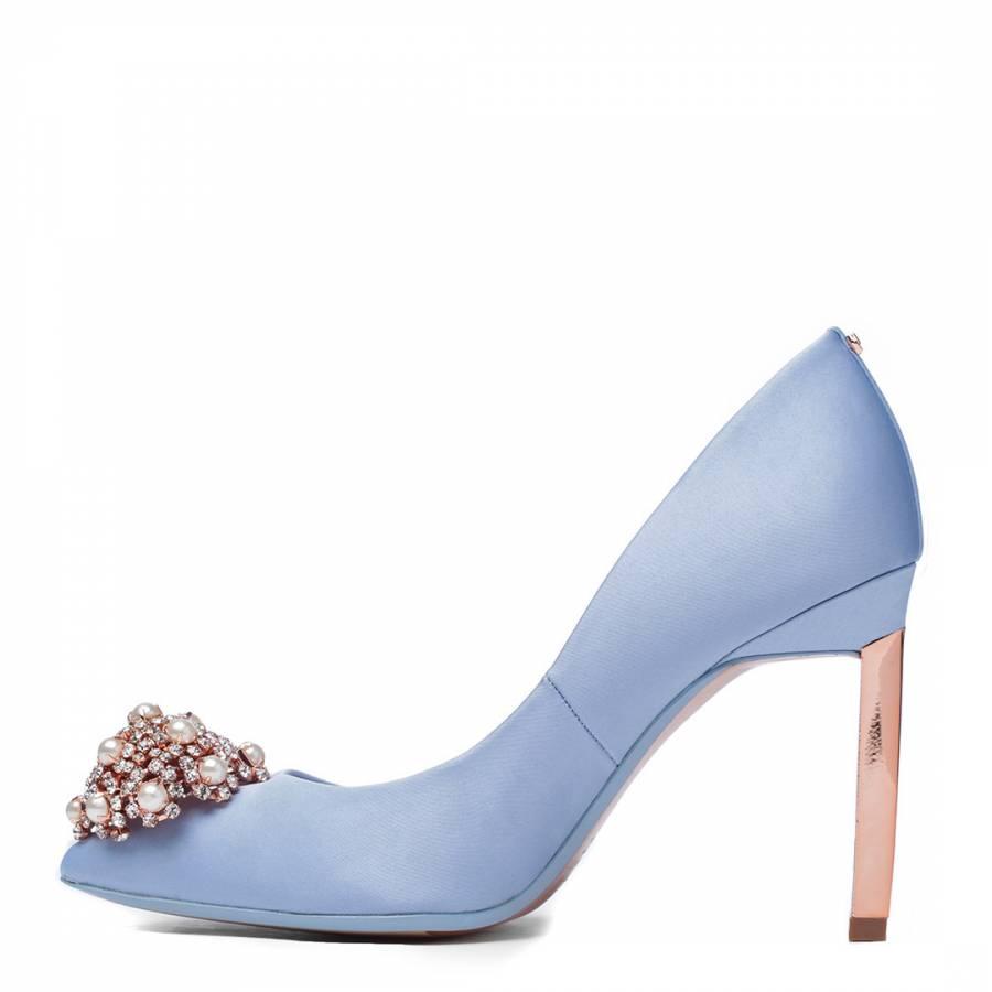 e5d4486fb52b0 Blue Satin Peetch Decadent Brooch Court Shoes - BrandAlley