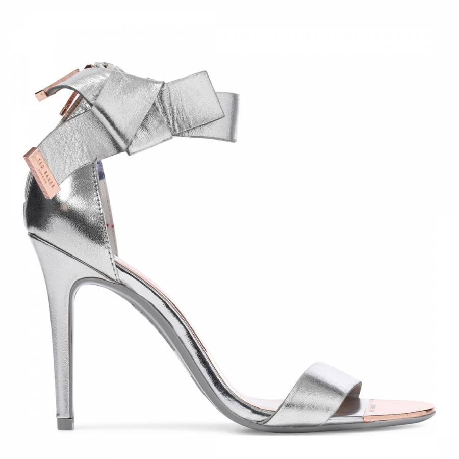 b3421f55603882 Silver Leather Saphrun Bow Strap Sandals - BrandAlley