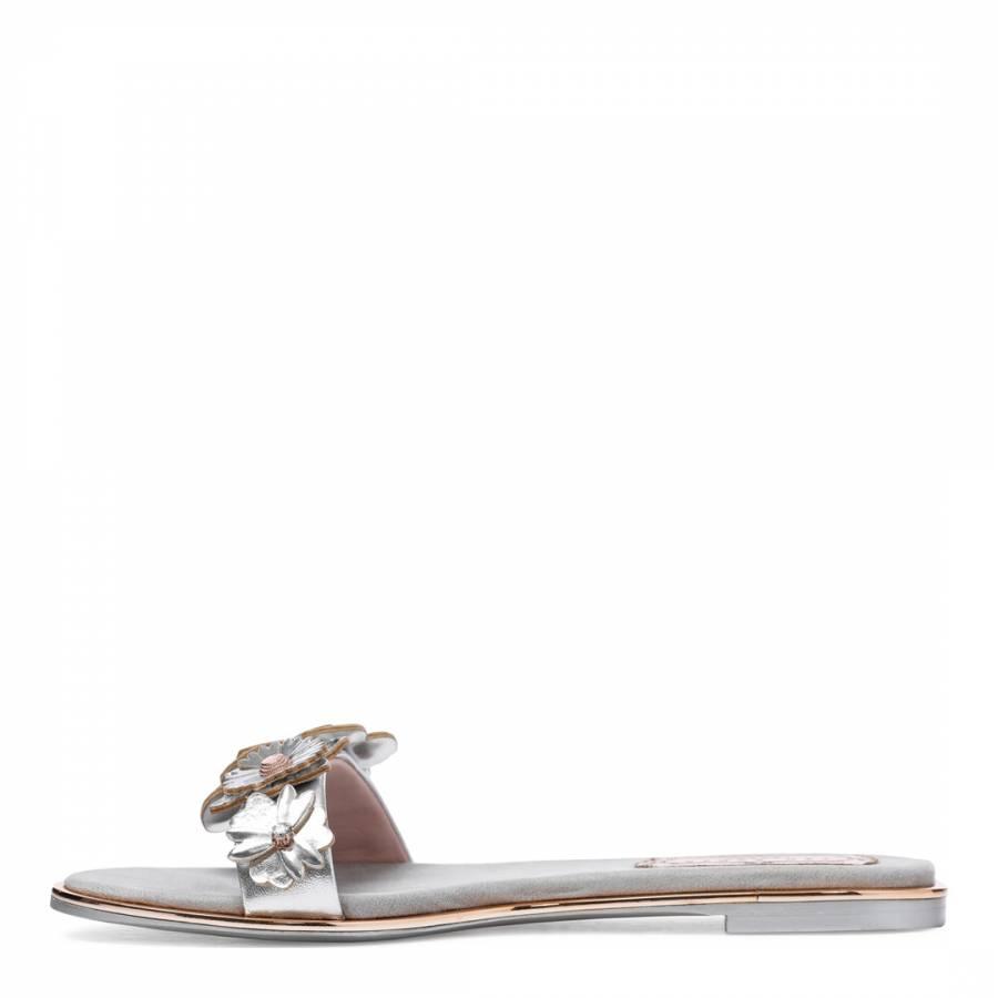 9ba079b2d332 Silver Leather Keelia Flower Embellished Sandals - BrandAlley