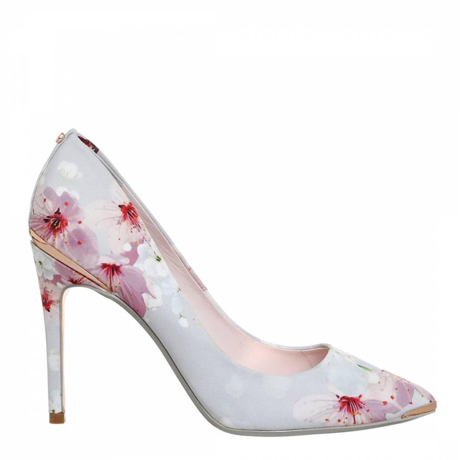 cbe25e858c6ef Grey Satin Kawaap Floral Stiletto Court Heels - BrandAlley