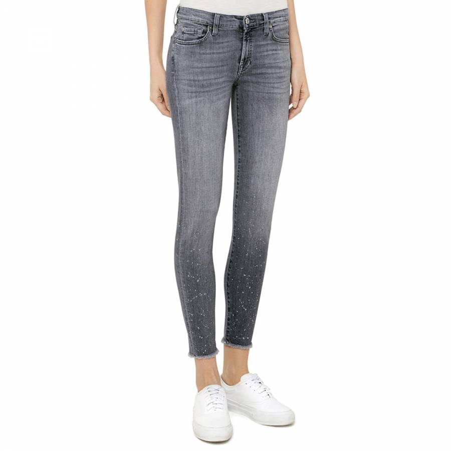 92fd08154e6 7 For All Mankind Grey Flecked The Skinny Crop Stretch Jeans