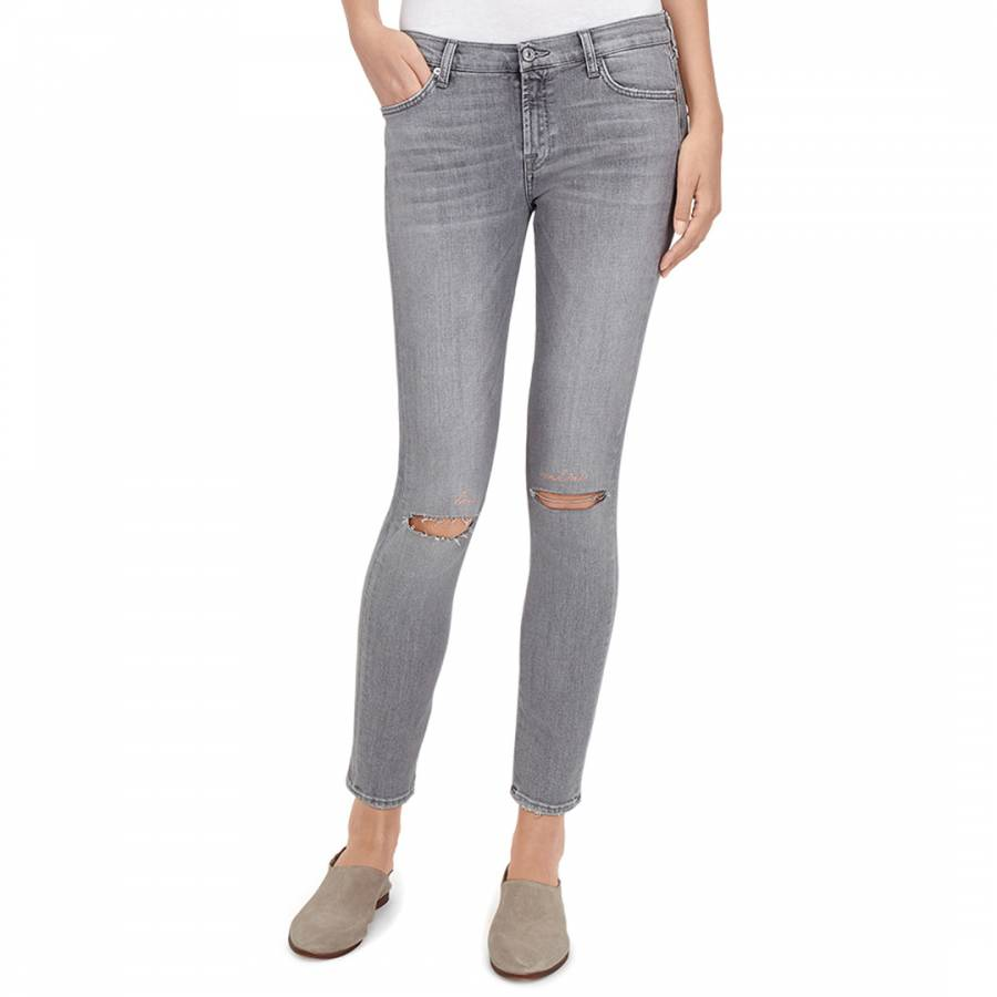 1b81301a075 7 For All Mankind Grey Distressed The Skinny Crop Stretch Jeans
