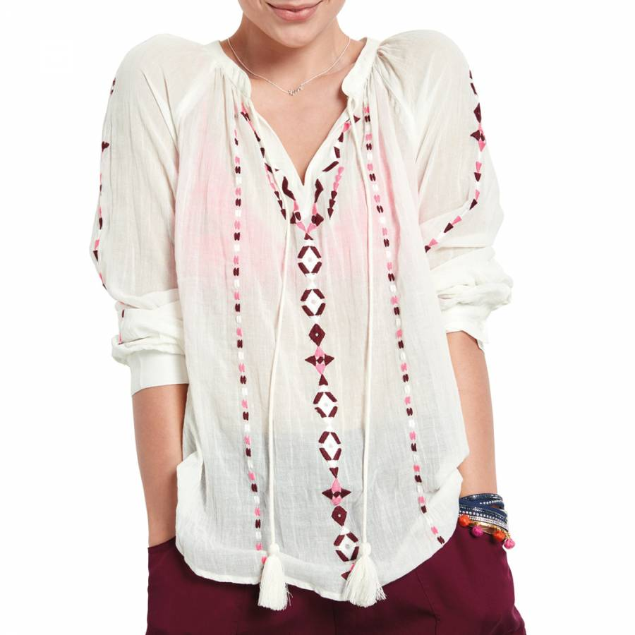 2beb3ccfdcee White Goa Embroidered Shirt - BrandAlley