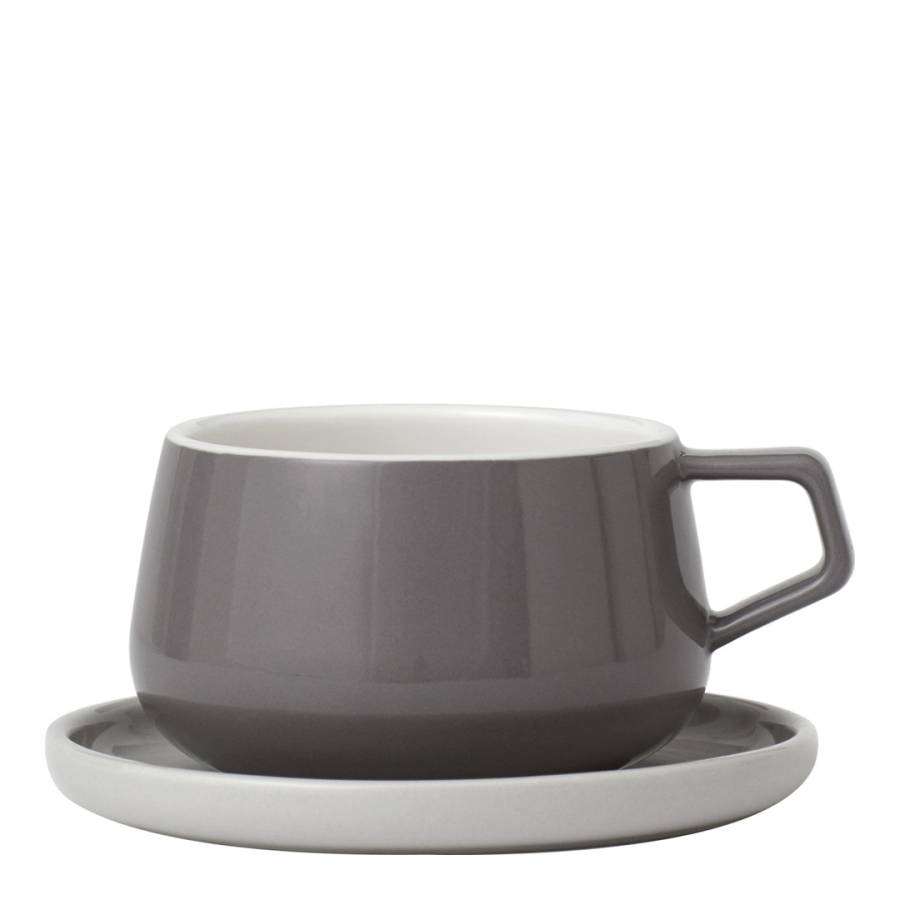 1d332ec78b Viva Scandinavia Ella Set of 2 Tea Mugs & Saucers, Grey, 250ml