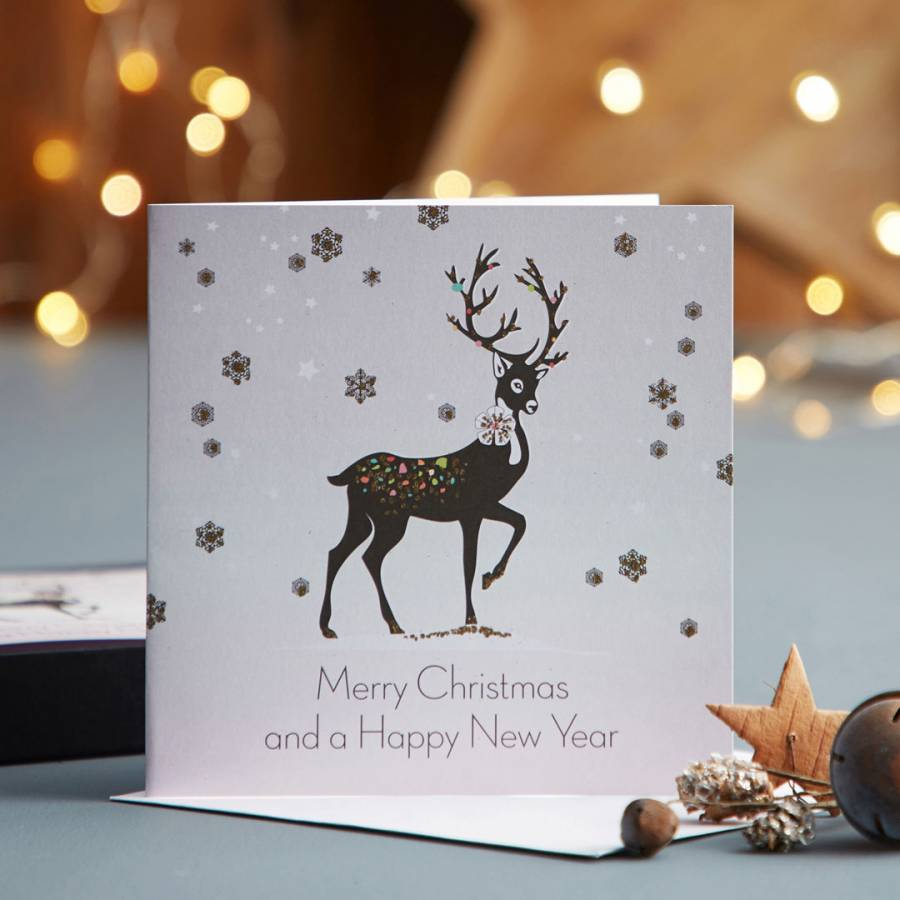 five dollar shake set of 12 reindeer merry christmas happy new year cards