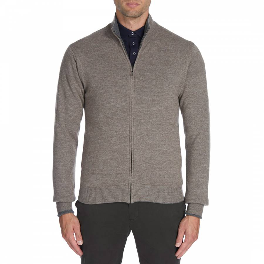95c5f9945b3908 Hackett London Grey/Beige Wool Reversible Full Zip Jumper