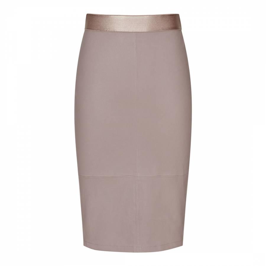 a2cd2db1c9 Mink Megan Stretch Leather Pencil Skirt - BrandAlley