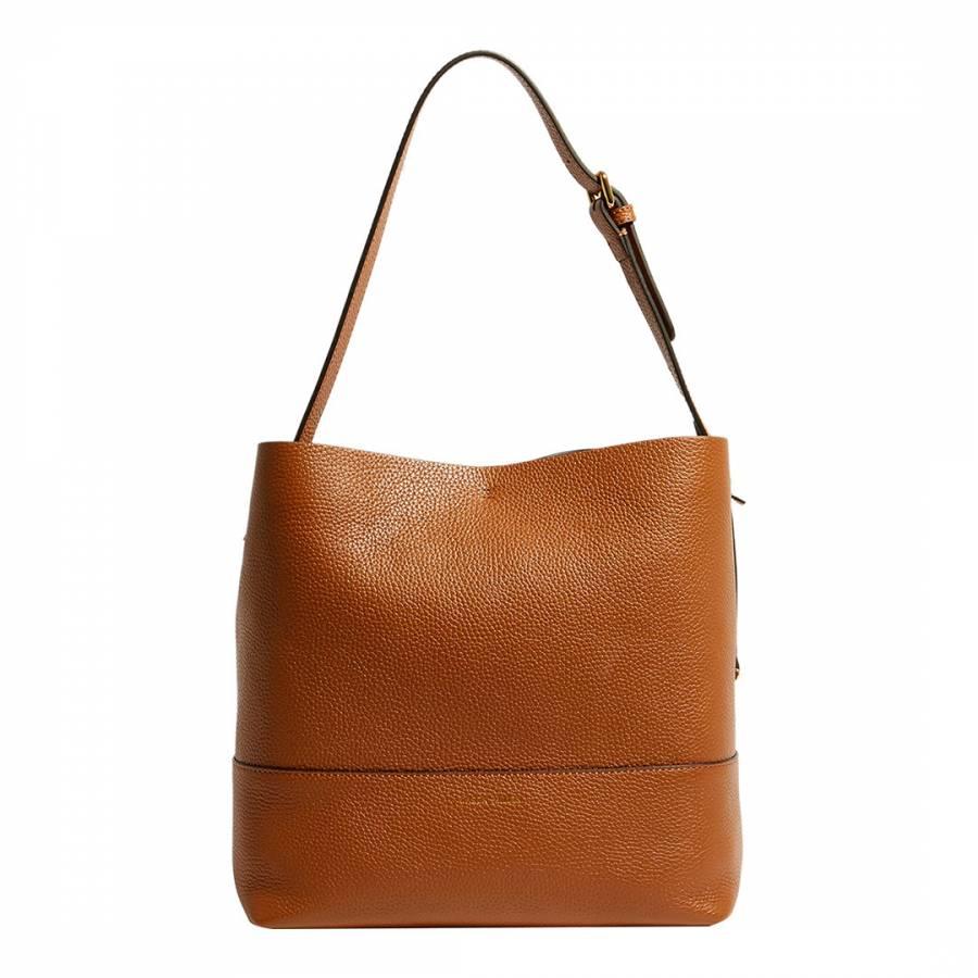 1159748586 Tan Oversized Leather Bucket Bag - BrandAlley