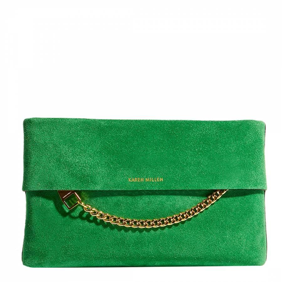 b87e2e477fdb Karen Millen Green Leather Chain Clutch Bag