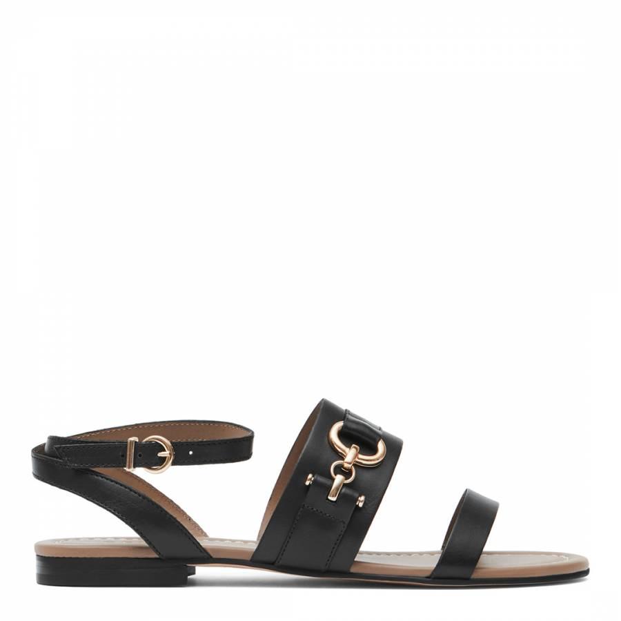 1b7b6840ce7b3 Black Bruna Hardware Detail Flat Sandals - BrandAlley
