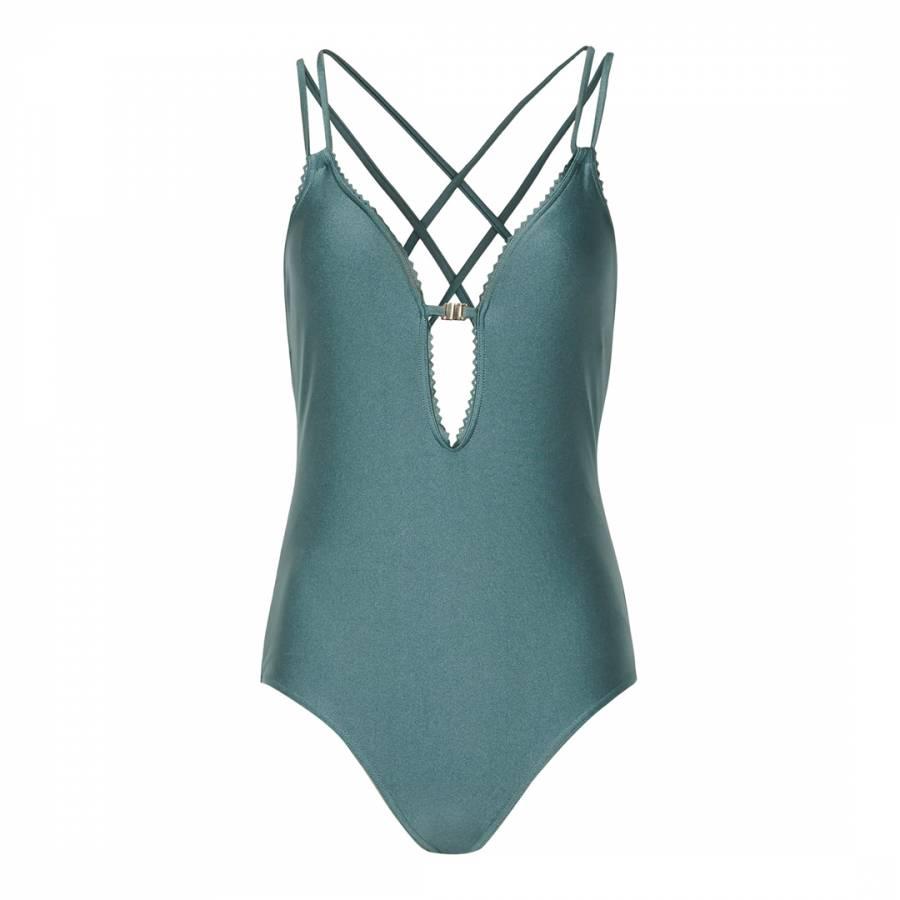 e99d9297080 Blue Amara Laser Cut Edge Swimsuit