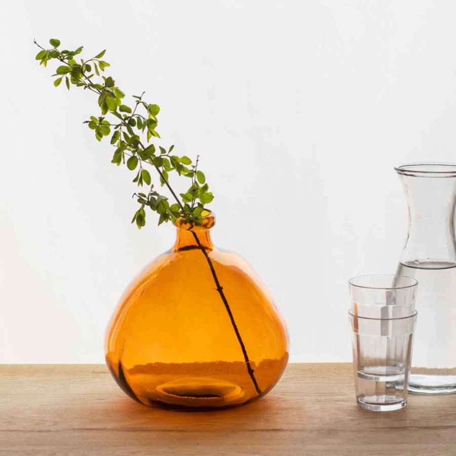 fa5fb668c799 Garden Trading Amber Recycled Glass Wells Bubble Vase
