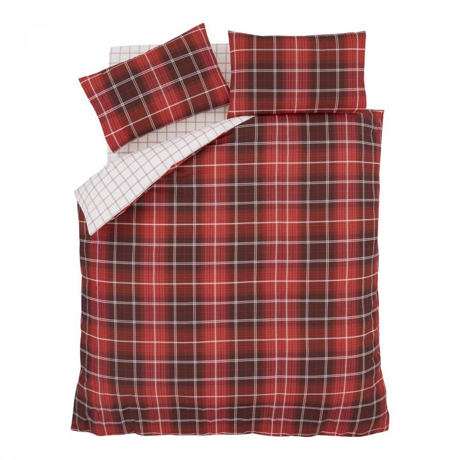 Catherine Lansfield Brushed Cotton Tartan Check Double Fitted Sheet Red