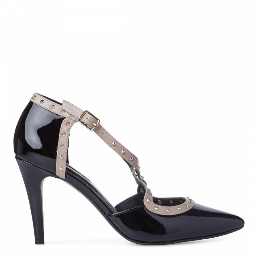 bfb5df27534 Black Patent Leather Cayleigh Stud Court Shoes