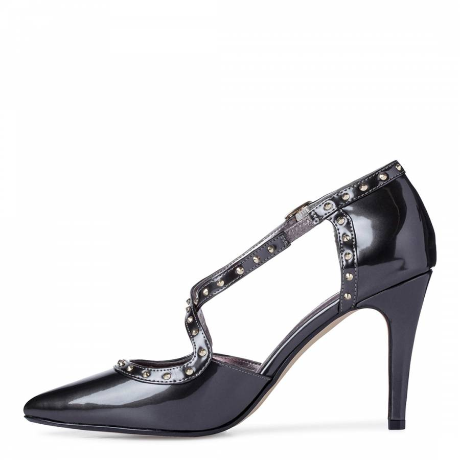 a1eb9bcd292d0 Pewter Patent Leather Cayleigh Stud Court Shoes - BrandAlley