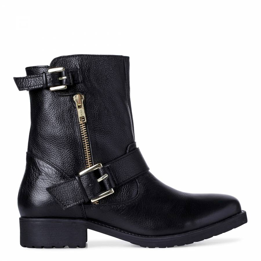 78f67e69ce91 Black Leather Ripp Buckle Ankle Boots - BrandAlley