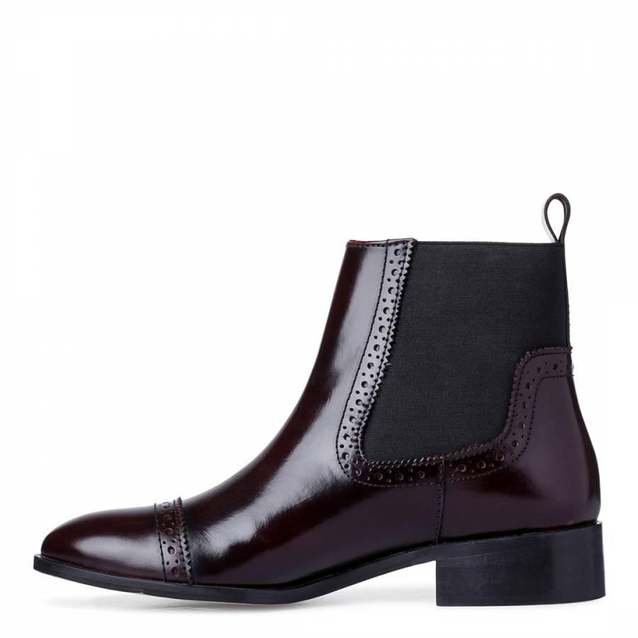 61abd75c4de Bordo Leather Tyra Brogue Style Chelsea Boots - BrandAlley