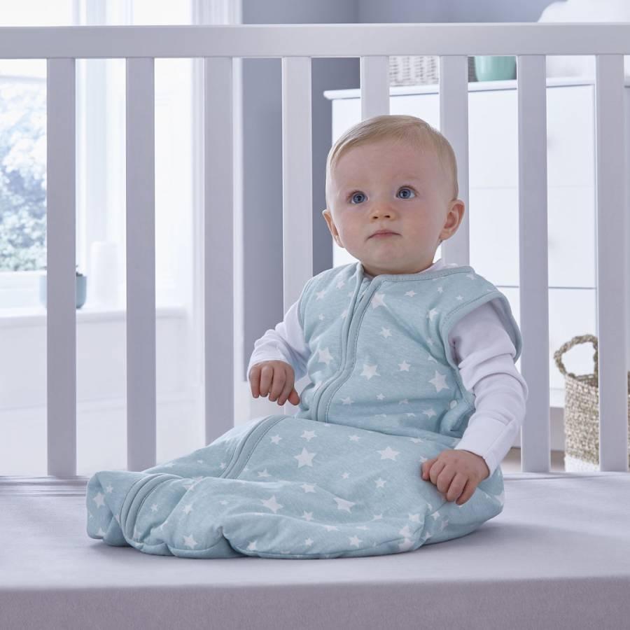 Silentnight Safe Nights Baby Sleep Bag Grey or Duck Egg Star 0-6 Months Pink