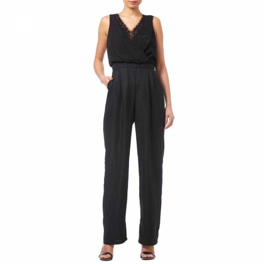 25b2a8af9e Adrianna Papell Black Beaded Georgette Jumpsuit