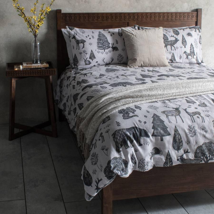 Woodland Double Duvet Cover Set, Natural - BrandAlley