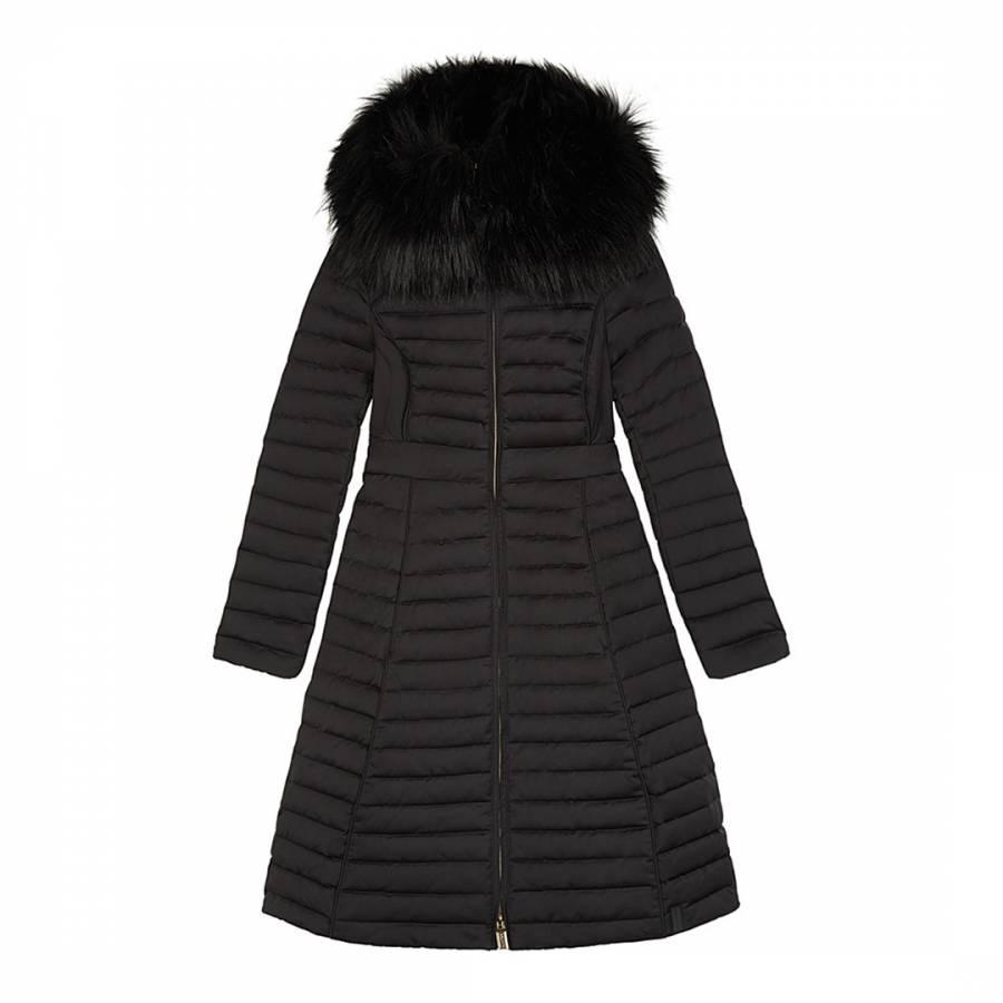 ec30901ea548a Black Refined Down Coat With Fur Hood - BrandAlley