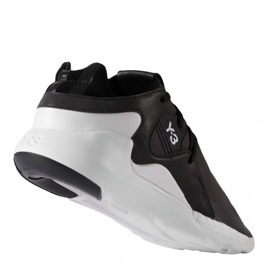5aaa05f07476f Black Leather Y-3 QR Run Sneakers - BrandAlley