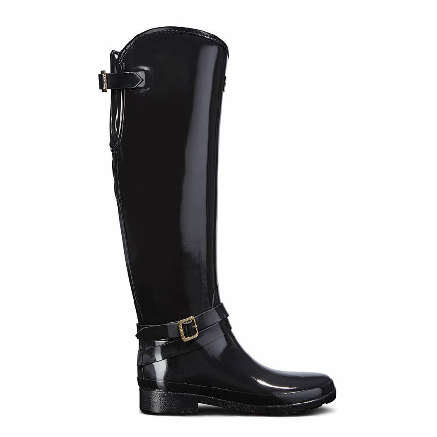 Black Leather Refined Adjustable Quilted Tall Riding Boots