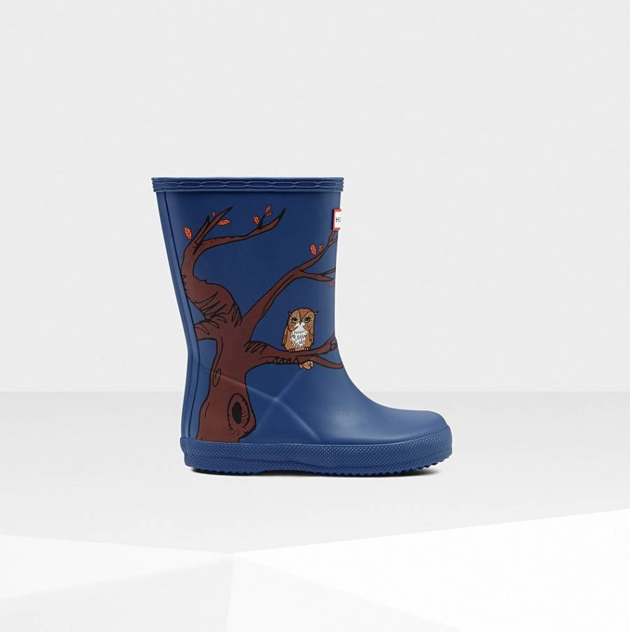 81d4159462 Kids Blue Classic Woodland Print Wellington Boots - BrandAlley