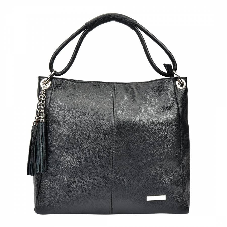 Black Leather Shoulder Bag with Tassel Accent - BrandAlley a8256d7526