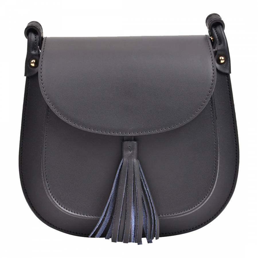 357a32020a0 Black Leather Saddle Bag with Front Tassel Detail