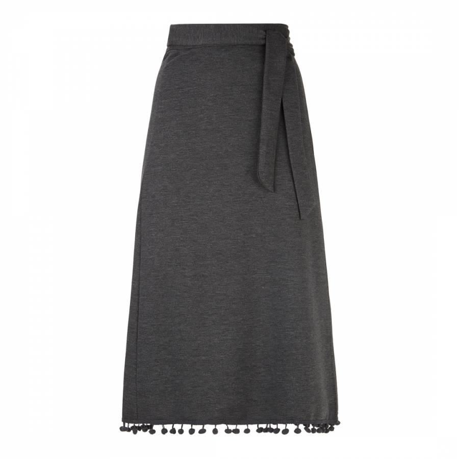 Image of Charcoal Pompom Hem Midi Skirt