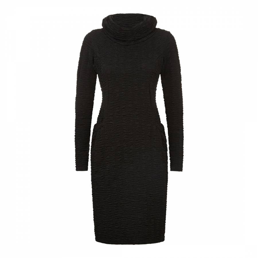 Image of Black High Neck Pocket Dress