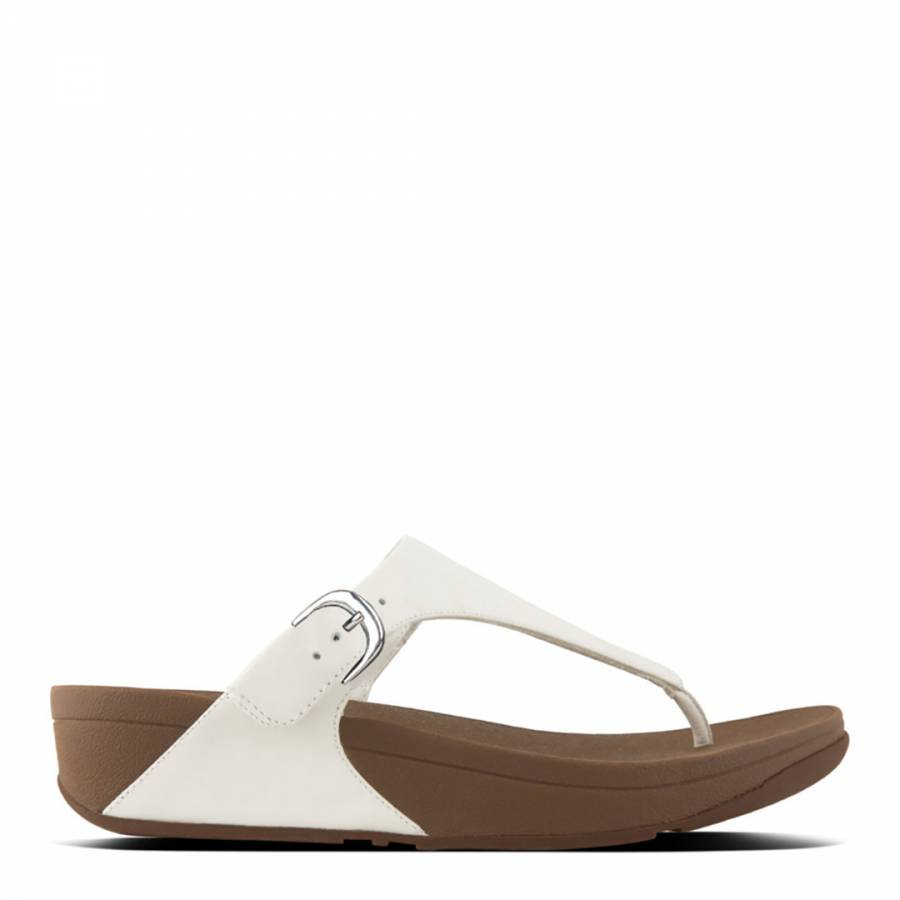 615b5a497e43 Urban White Leather Skinny Toe Post Buckle Sandals - BrandAlley