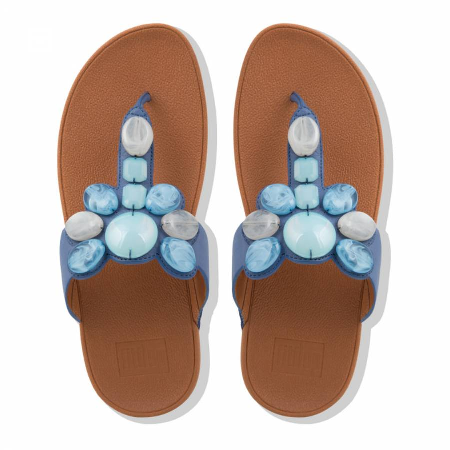 c65a471ffa3 Indian Blue Leather Honeybee Jewelled Toe Post Sandals - BrandAlley