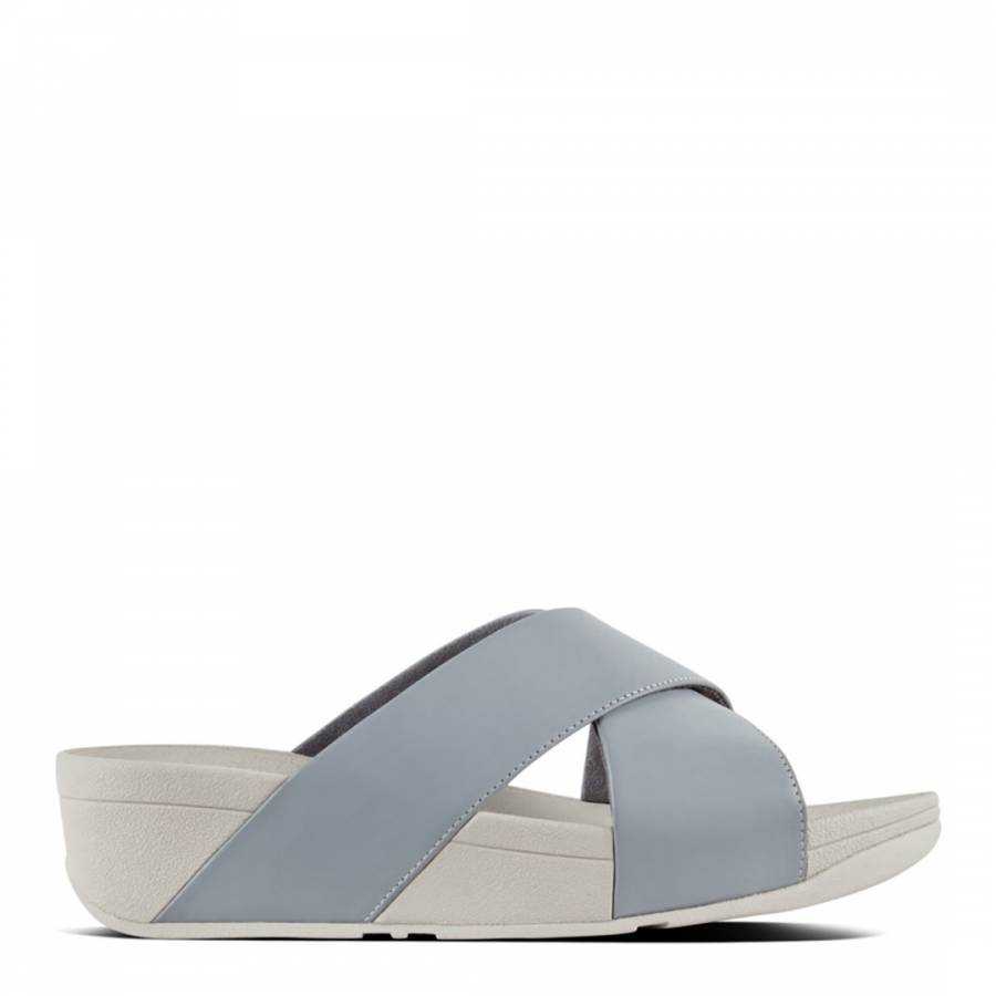 954bfe2db624 FitFlop Dove Blue Leather Lulu Cross Slide Sandals. prev. next. Zoom