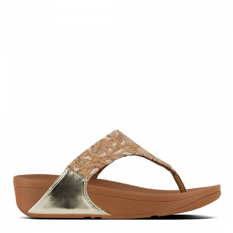 c3da3ee430baf Cork Gold Lulu Toe Post Metallic Patterned Sandals - BrandAlley