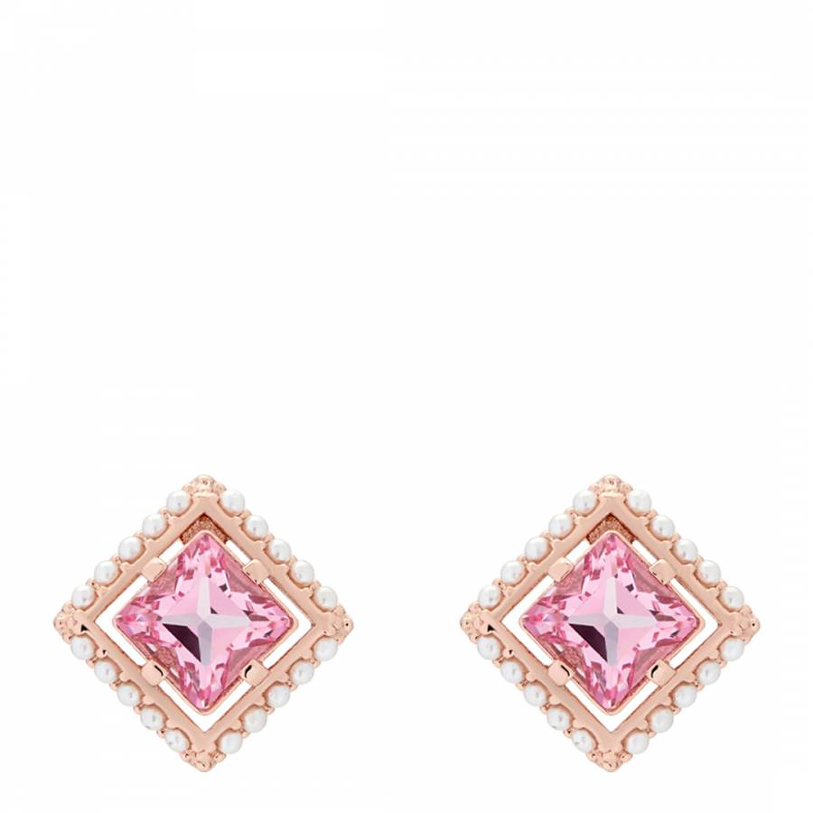 91dc61aa2920 Ted Baker Light Rose   Pearl Rose Gold Payge Pearl Frame Crystal Square  Stud Earring