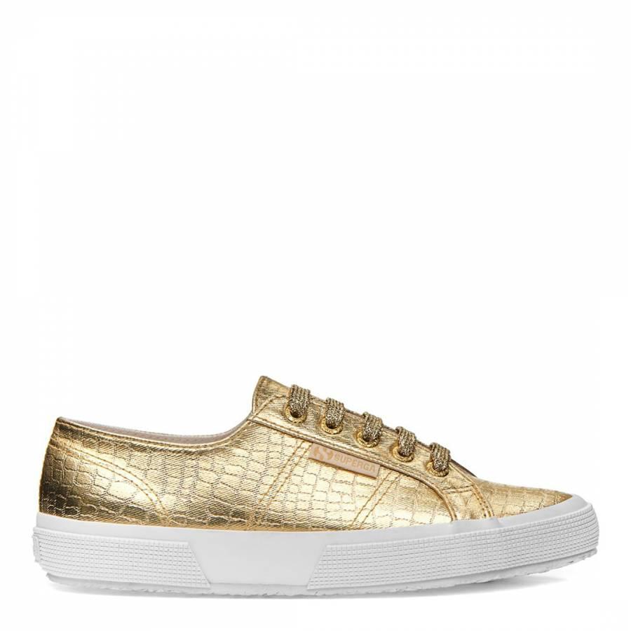 1027eea70beb6 Gold 2750 Cotmet Embossed Croc Sneakers - Sneaker Edit Women's ...