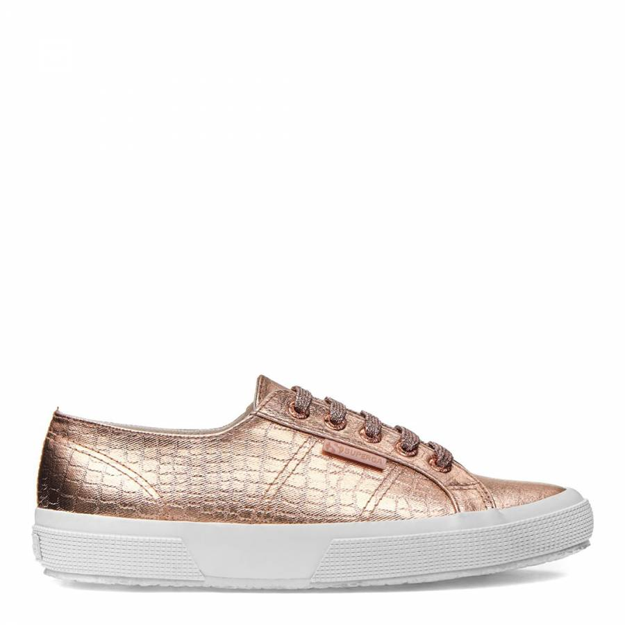 Superga Rose Gold 2750 Cotmet Embossed Croc Sneakers