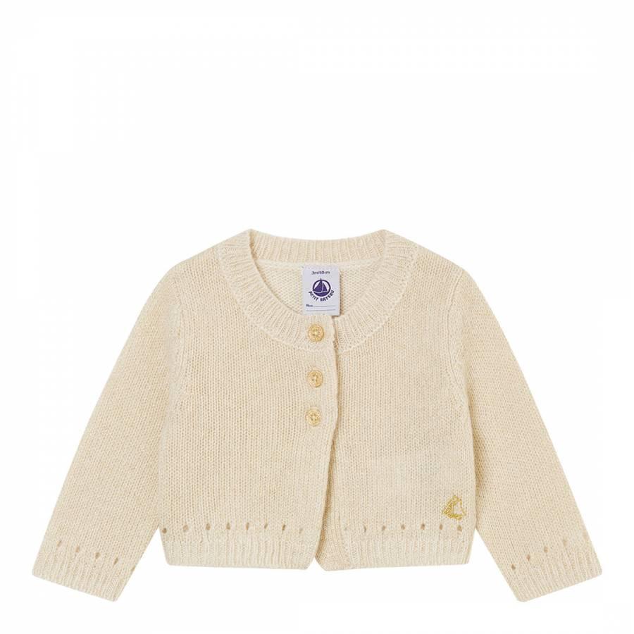 f22535771b9 Petit Bateau Off White/Gold Knitted Bolero Cardigan