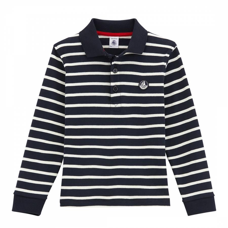 f2848c13442 Boy's Navy/Burgundy Striped Rugby Shirt - BrandAlley