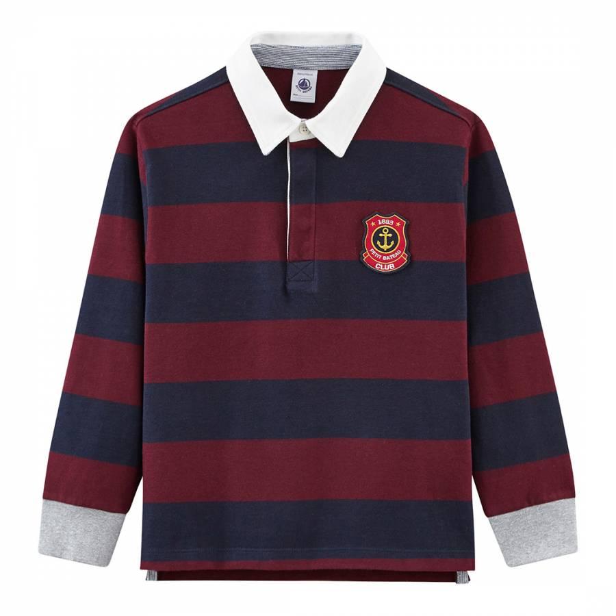 29e1ca0b58 Petit Bateau Boy's Navy/Burgundy Striped Rugby Shirt