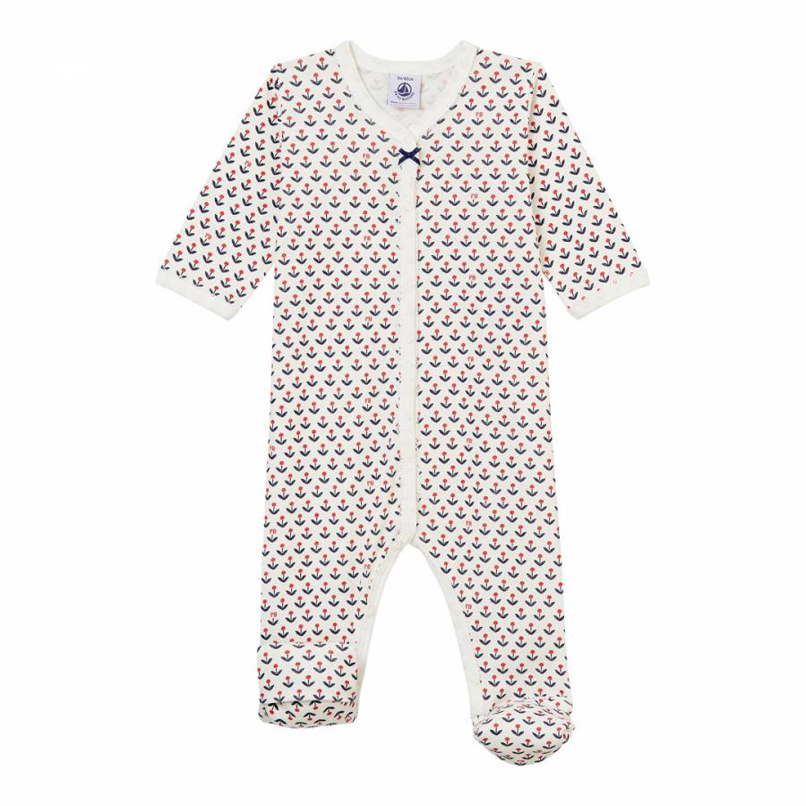 Image of Baby Girl's Graphic Flower Reversible Footed Sleepsuit