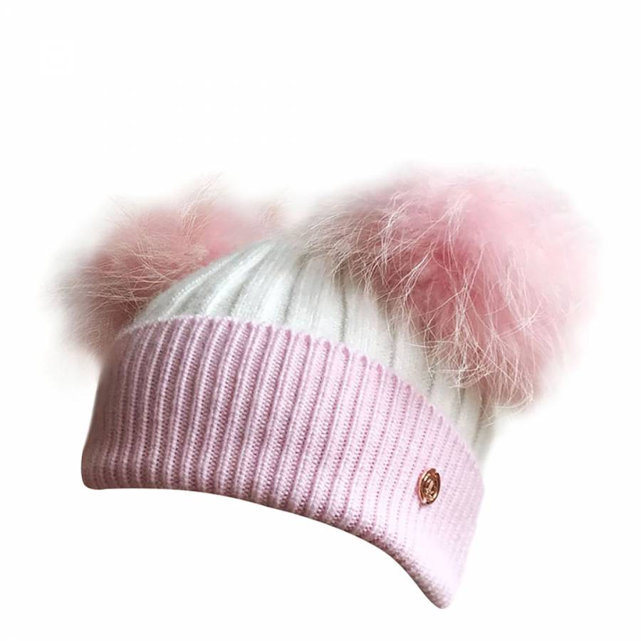 023807acdde Look Like Cool Baby Pink   White Cashmere Blend Double Pompom Hat