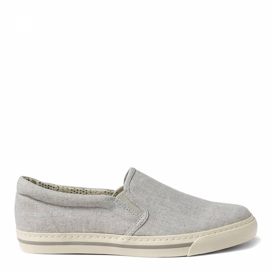 Grey Canvas Stoneby Slip On Trainers